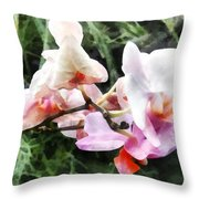 Pale Pink Phalaenopsis Orchids Throw Pillow