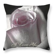 Pale Pink Rose Greeting Card   I Love You Throw Pillow
