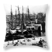 Palermo Sicily - Shipping Scene At The Harbor Throw Pillow