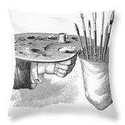 Palette And Brushholder Throw Pillow