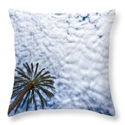 Palm And Dramatic Sky Throw Pillow