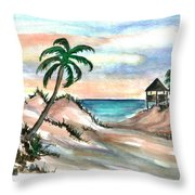 Palm Cost Throw Pillow