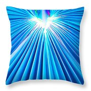 Palm Frond In Blue Throw Pillow