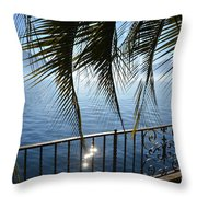 Palm Leaves On A Foggy Lake Throw Pillow