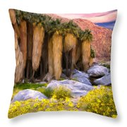 Palm Oasis And Wildflowers Throw Pillow