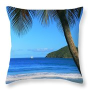Palm Shaded Island Beach  Throw Pillow