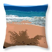 Palm Shadow On The Beach Throw Pillow