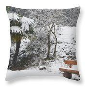 Palm Tree And A Bench With Snow Throw Pillow