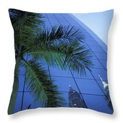 Palm Tree And Reflection Of Petronas Throw Pillow