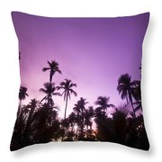 Palm Trees At Dusk, Malaysia, Southeast Throw Pillow
