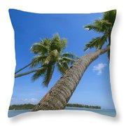 Palm Trees On A Tropical Beach, Fiji Throw Pillow