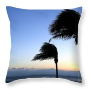 Palm Trees Swaying In The Wind Throw Pillow by Yali Shi