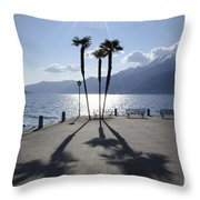 Palm Trees With Shadows Throw Pillow