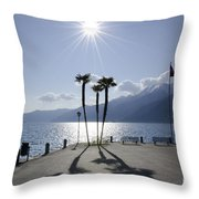 Palm Trees With Shadows On The Lakefront Throw Pillow