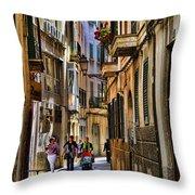 Palma Mallorca Street Scene Throw Pillow
