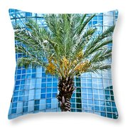 Palme Tree And Blue Building Throw Pillow