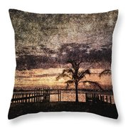 Palms And Docks Throw Pillow