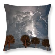 Palms And Lightning  Throw Pillow