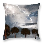 Palms And Lightning 3 Throw Pillow