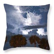 Palms And Lightning 4 Throw Pillow