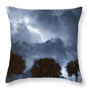 Palms And Lightning 5 Throw Pillow