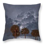 Palms And Lightning 7 Throw Pillow