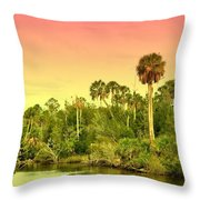 Palms In Twilight Throw Pillow