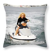 Pamela Anderson Is A Jet Ski Vixen Throw Pillow