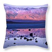 Panamint Range Reflected In Standing Throw Pillow by Tim Fitzharris