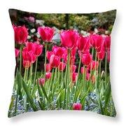 Panel Of Pink Tulips Throw Pillow