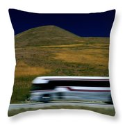 Panned View Of A Bus On Interstate 15 Throw Pillow