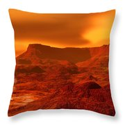 Panorama Of A Landscape On Venus At 700 Throw Pillow