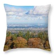 Panorama Of Dublin City And The Dublin Bay Throw Pillow