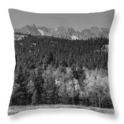 Panorama Scenic Autumn View Of The Colorado Indian Peaks Bw Throw Pillow