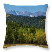 Panorama Scenic Autumn View Of The Colorado Indian Peaks Throw Pillow