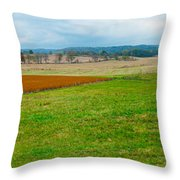 Panorama Valley Farm Throw Pillow