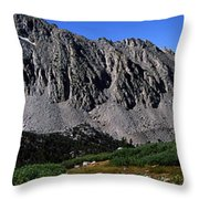 Panoramic Of Hikers On Kersarge Lake Throw Pillow