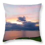 Panoramic View From Dunluce Castle Throw Pillow