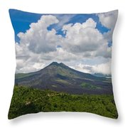 Panoramic View Of A Volcano Mountain  Throw Pillow