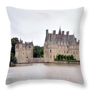 Panoramic View Of Chateau De La Bretesche Throw Pillow