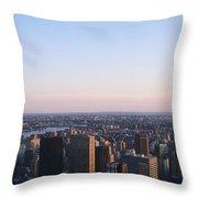 Panoramic View Of Manhattan Throw Pillow