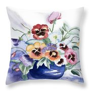 Pansies In Blue Pot Throw Pillow
