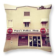 Papa's Poboy's Throw Pillow by Scott Pellegrin