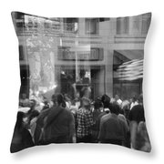 Parade Crowd Reflected Throw Pillow