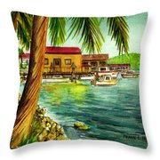 Parguera Fishing Village Puerto Rico Throw Pillow