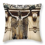 Paris Courtyard Musee Carnavalet Angel Statue - Victory Allegorical Angel Statue Throw Pillow