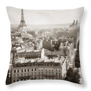 Paris: Aerial View, 1900 Throw Pillow