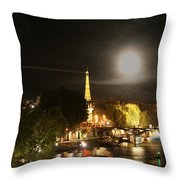 Paris At Night Throw Pillow