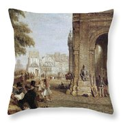 Paris: Book Stalls, 1843 Throw Pillow