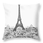Paris Exhibition, 1889 Throw Pillow